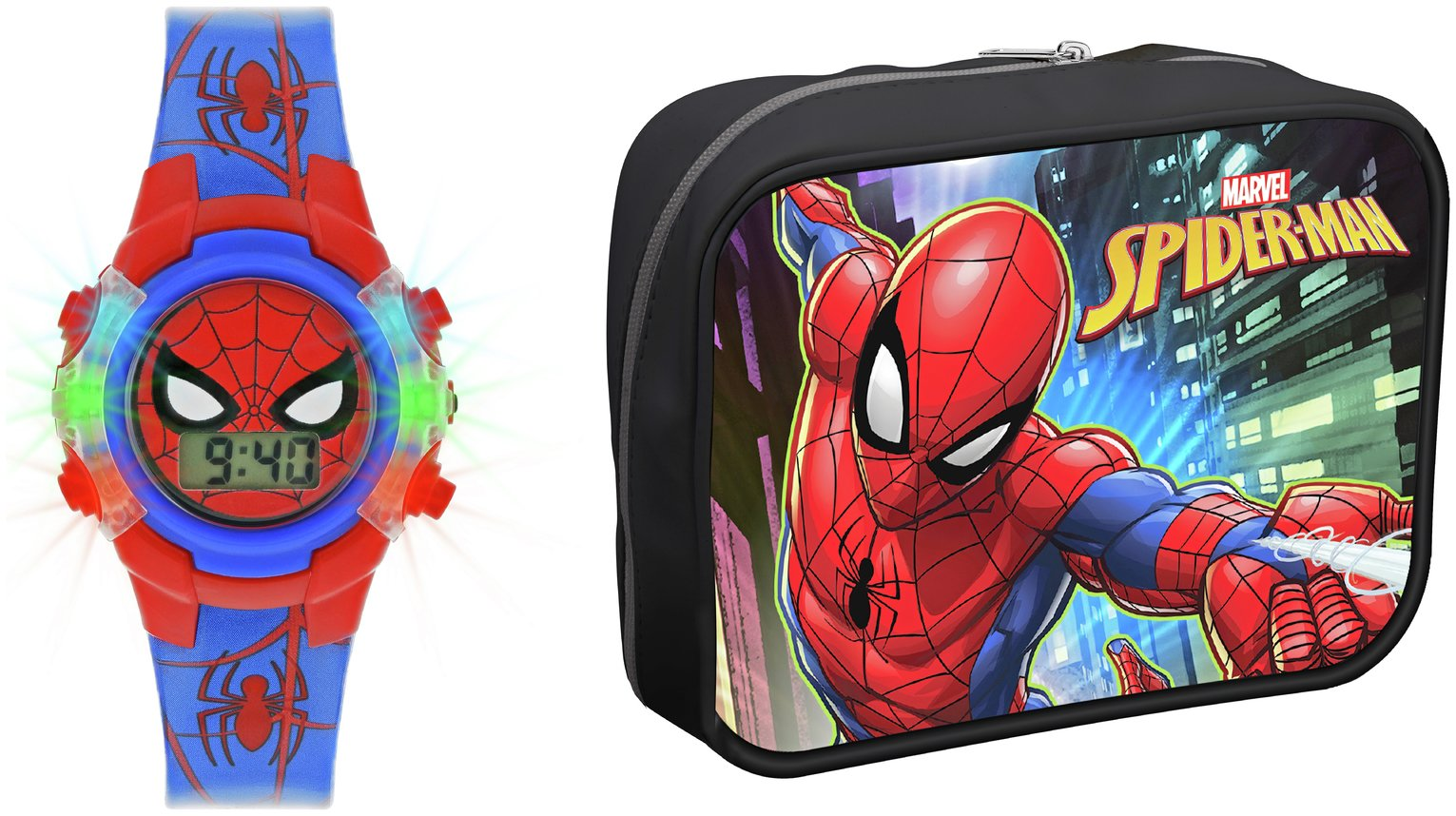 Marvel Spider-Man Flashing Lights Digital Watch & Wallet Set