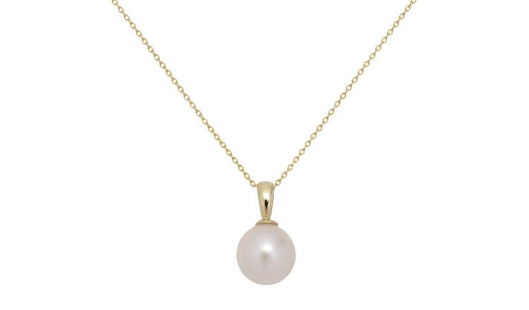Revere 9ct Gold White Cultured Freshwater Pearl Pendant
