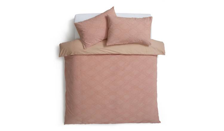Habitat Jacquard Geometric Peach Bedding Set - Double