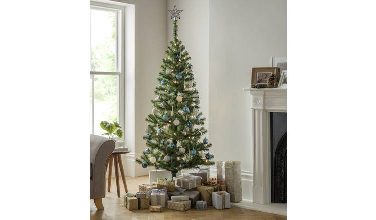 Buy Argos Home 6ft Christmas Tree With Lights Decs Silver Christmas Trees Argos