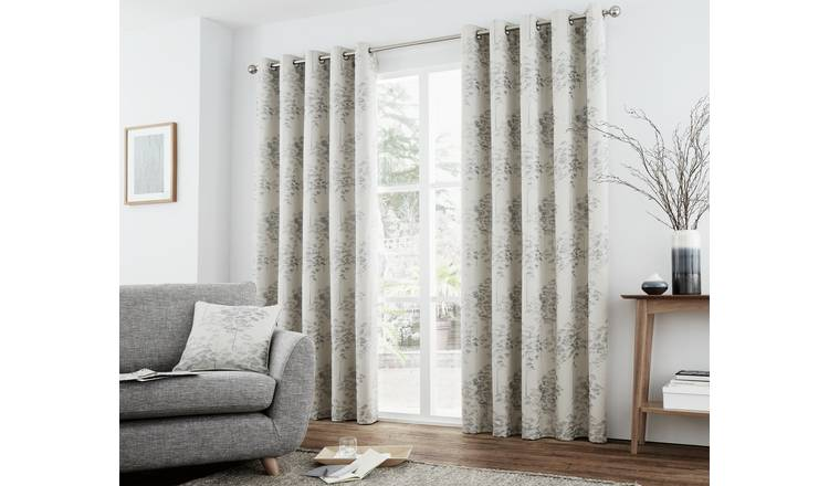Curtina Elmwood Lined Curtains - 168x229cm - Silver