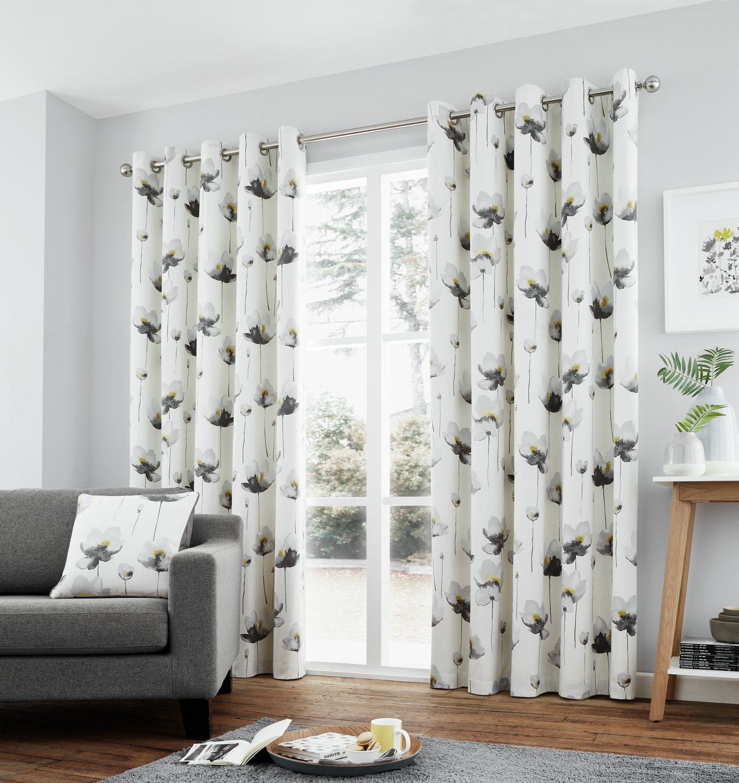 Fusion Kiera Eyelet Curtains - 168x229cm - Grey
