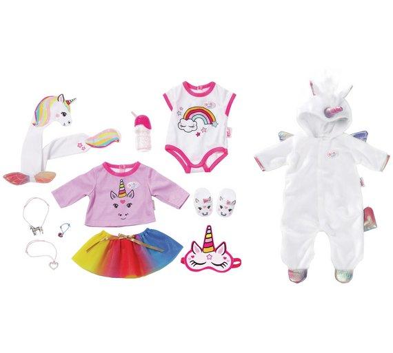 buy baby born unicorn onesie and accessory set doll clothes argos