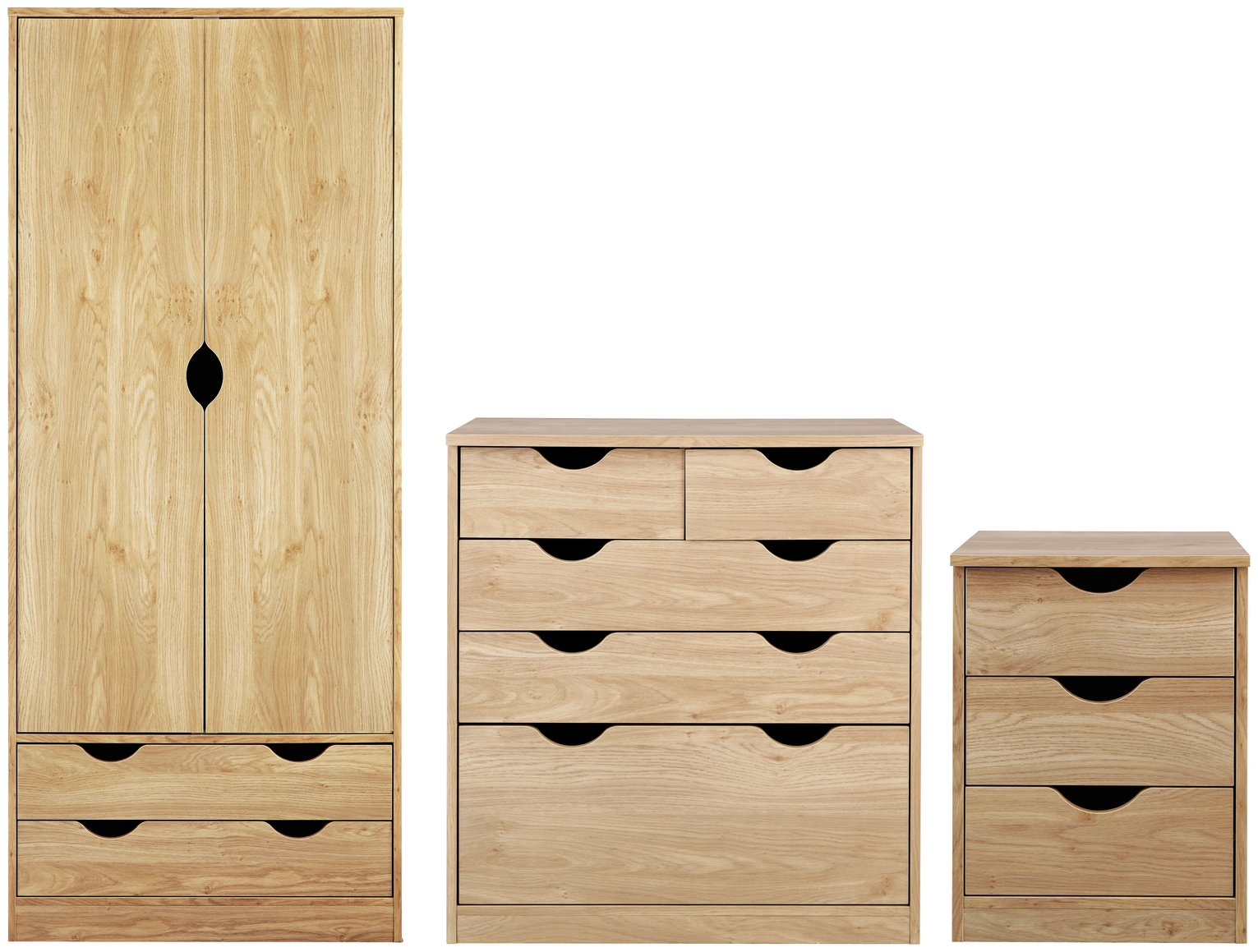 Argos Home Pagnell Oak Effect 3 Piece Bedroom Package