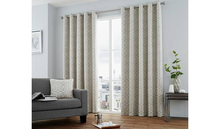 Curtina Camberwell Eyelet Curtains - 168x229cm - Silver
