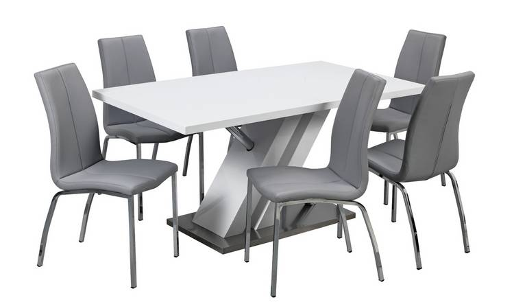 Buy Argos Home Belvoir Pedestal Table And 6 Chairs Grey Dining