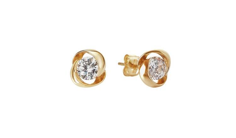 d7034a129 Buy Revere 9ct Gold Cubic Zirconia Knot Stud Earrings   Ladies ...