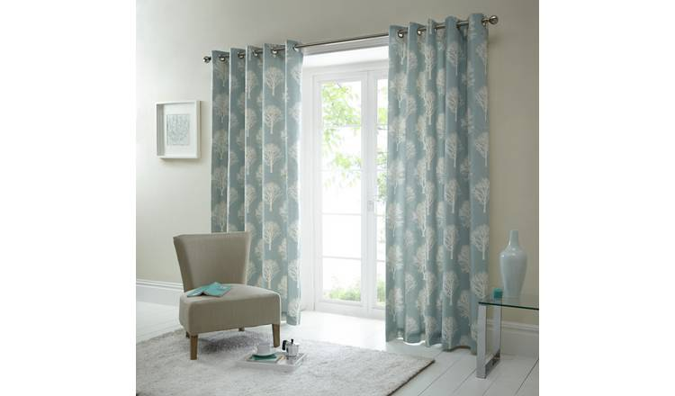 Fusion Woodland Trees Curtains - 117x182cm - Duck Egg.