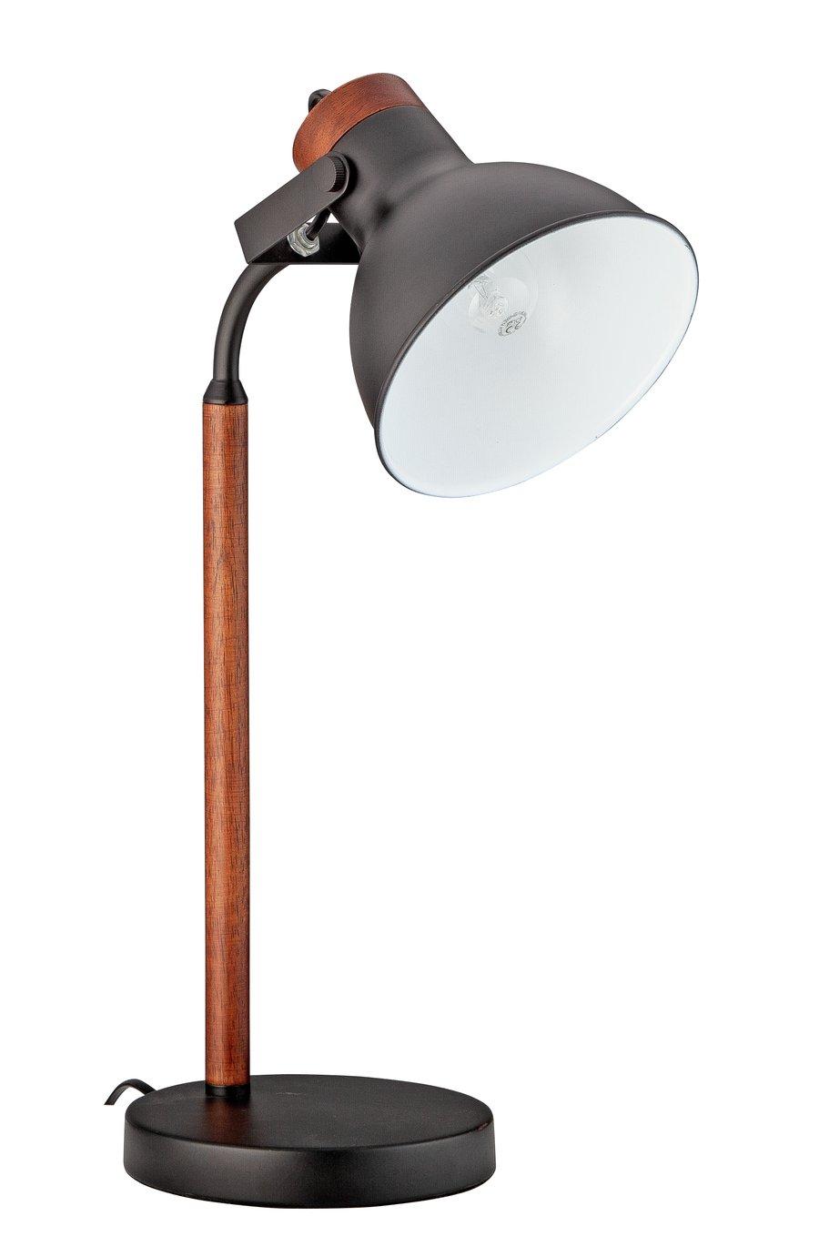 Argos Home Ruscombe Table Lamp - Dark Wood and Black