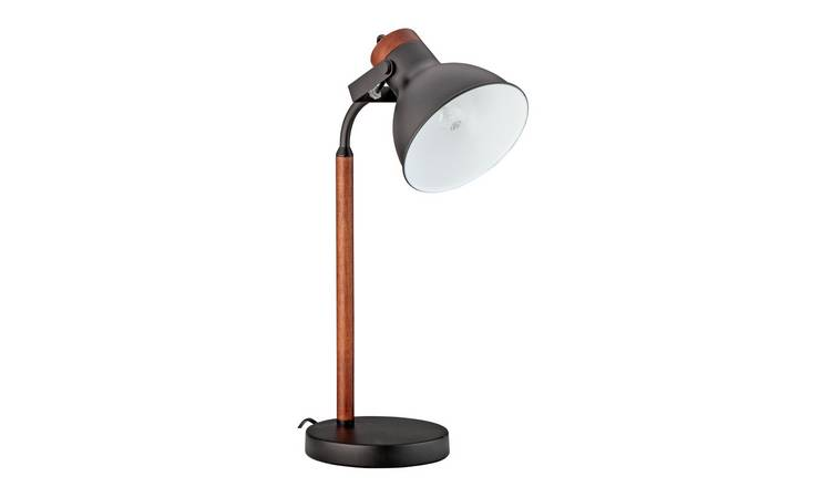 Argos Home Ruscombe Table Lamp - Dark Wood and Black
