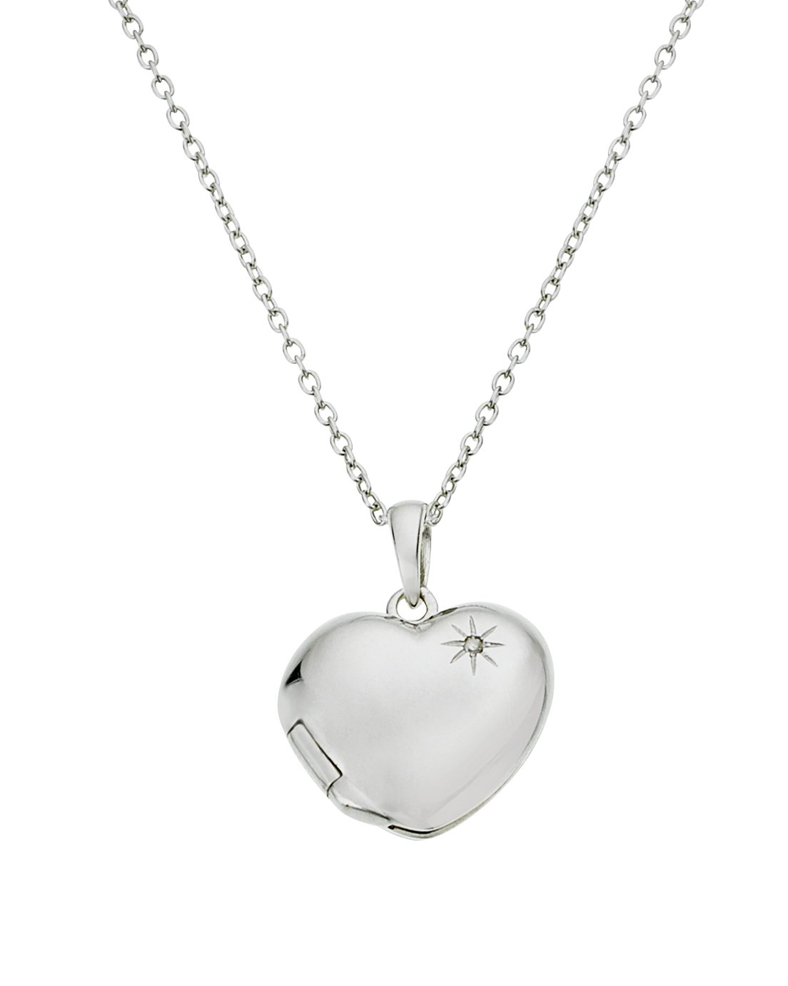 Accents by Hot Diamonds Silver Heart Locket Pendant Necklace