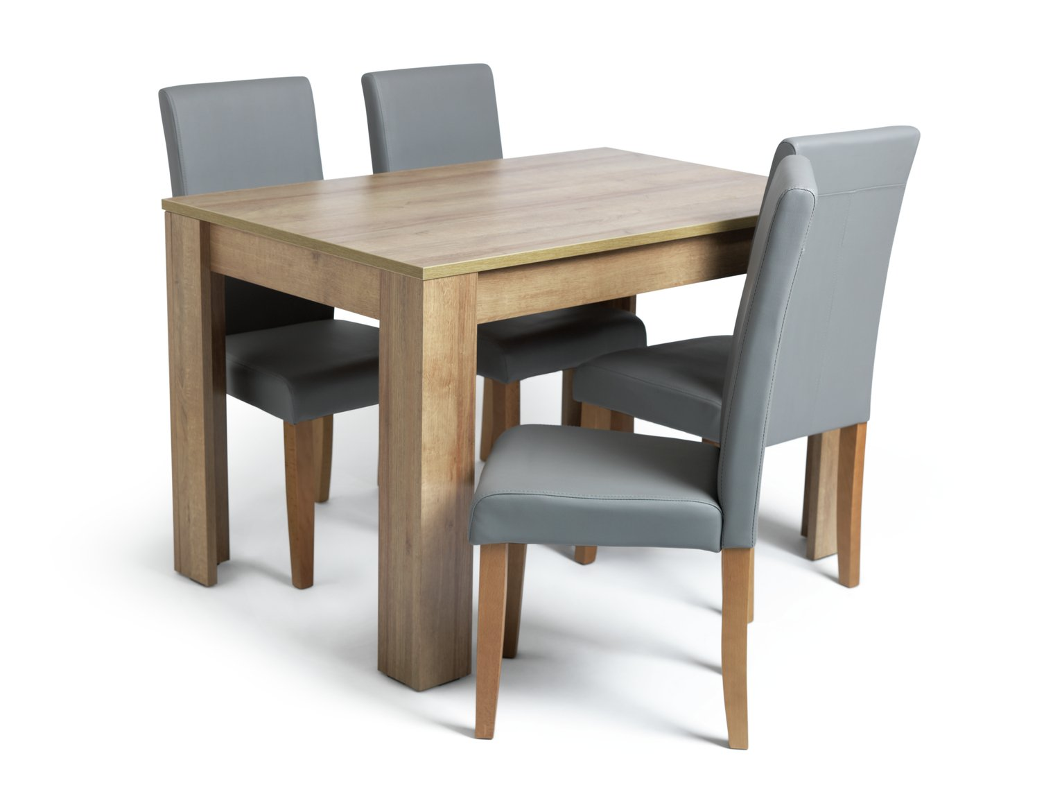 Argos Home Miami Oak Effect Dining Table & 4 Grey Chairs