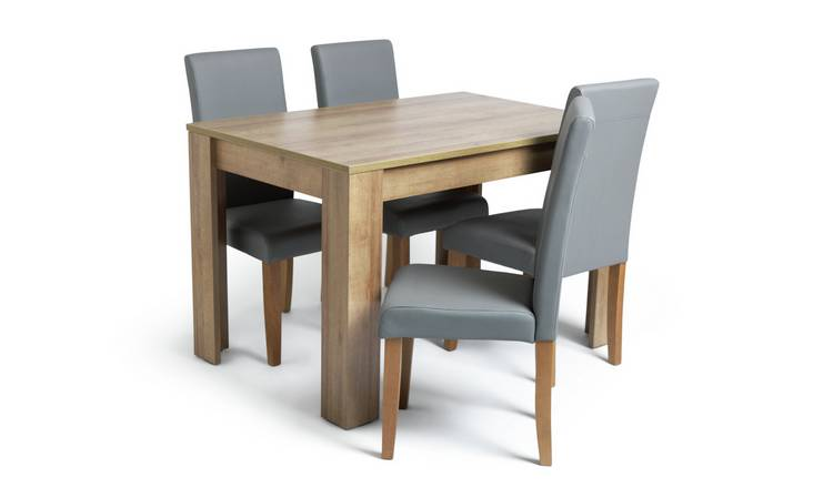 Habitat Miami Oak Effect Dining Table & 4 Grey Chairs