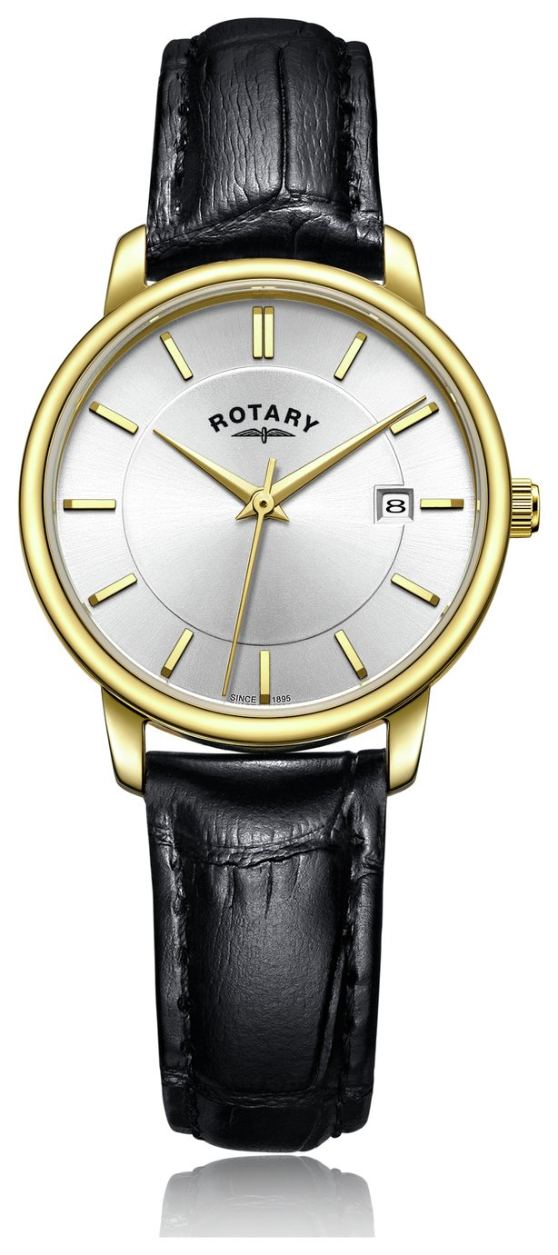 Rotary Ladies' Gold Plated Black Leather Strap Watch