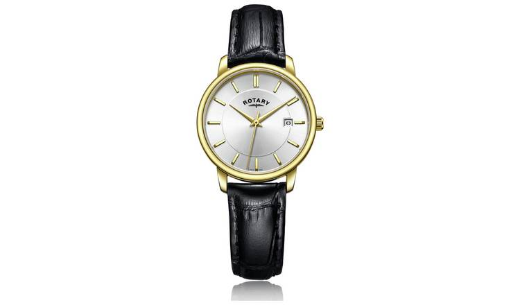 Rotary Ladies Black Leather Strap Watch