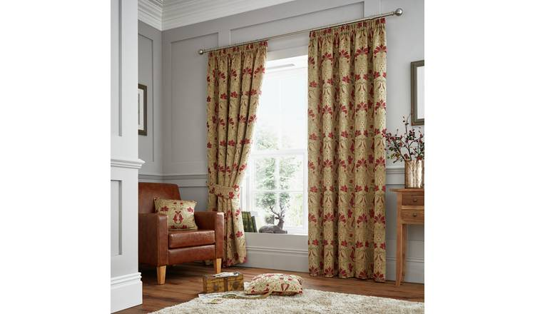 Curtina Burford Curtains - 168x229cm - Red and Gold