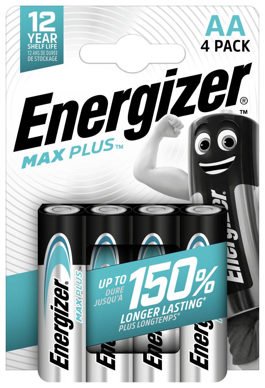 Energizer Max Plus AA Alkaline Batteries - Pack of 4
