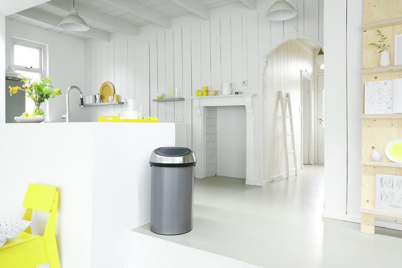 Brabantia 60 Litre Touch Top Kitchen Bin - Platinum