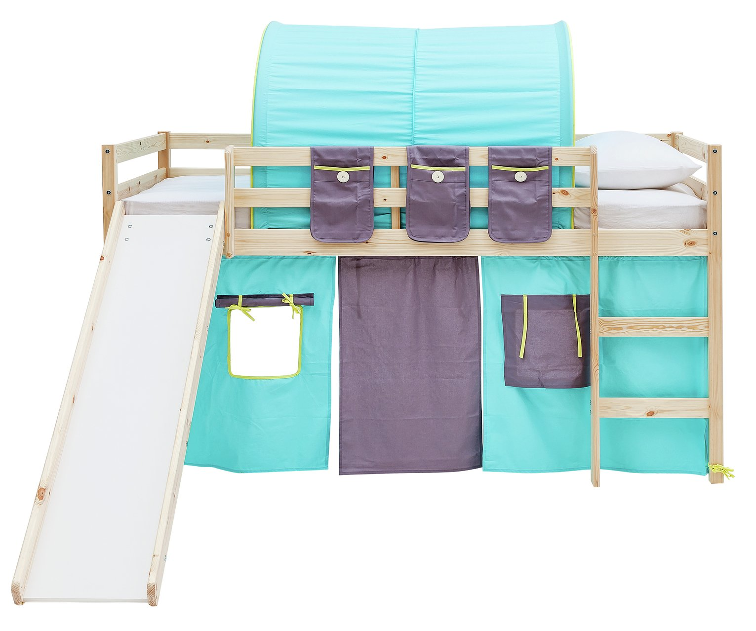 Argos Home Kaycie Pine Mid Sleeper with Slide & Blue Tent