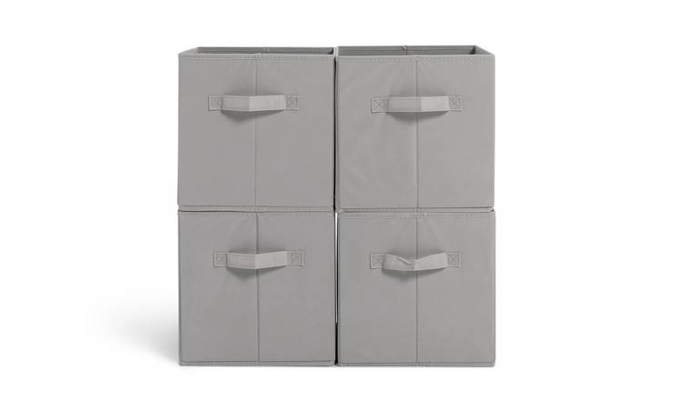 Argos Home Pack of 4 Grey Canvas Boxes