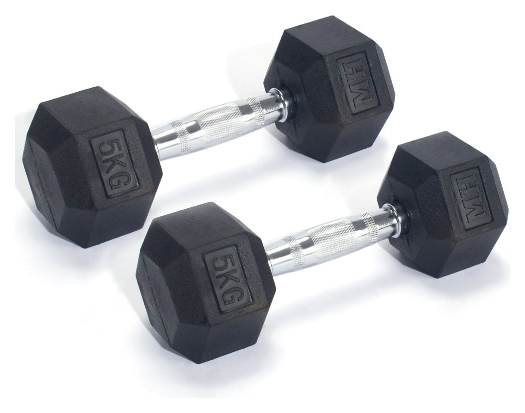 Men's Health Rubber Dumbbell Set - 2 x 5kg