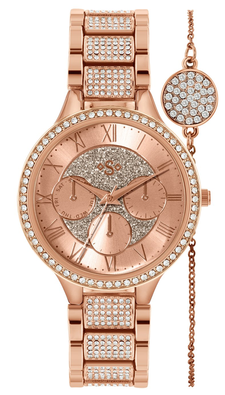 Spirit Lux Ladies' Rose Glitter Dial Watch and Bracelet Set