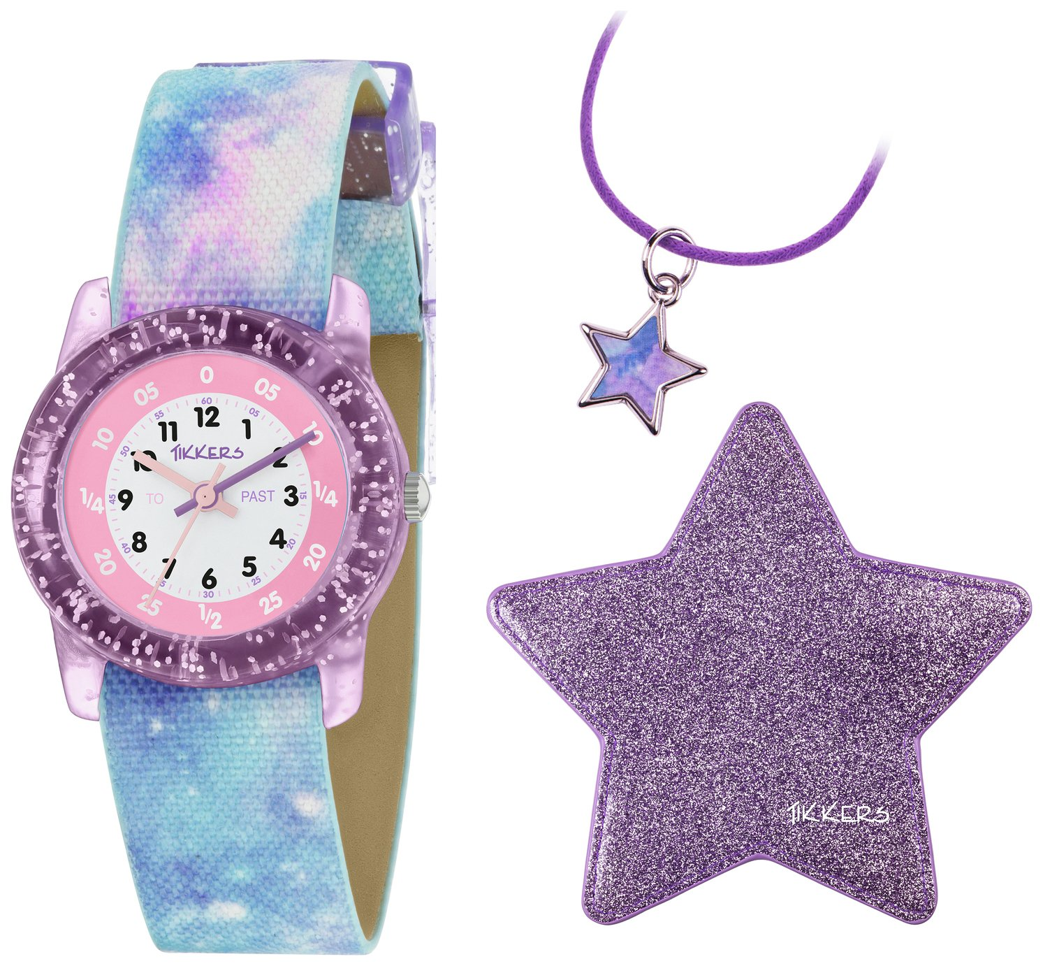 Tikkers Purple Glitter Space Time Teacher Watch Set