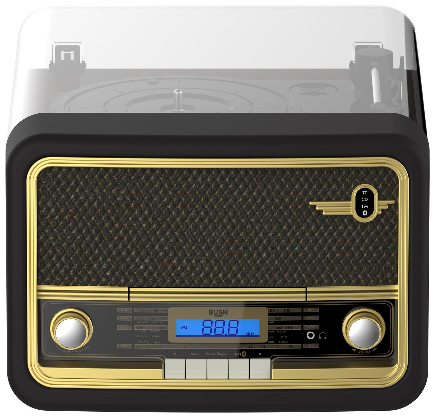 Bush Classic Retro Record Player - Black / Gold