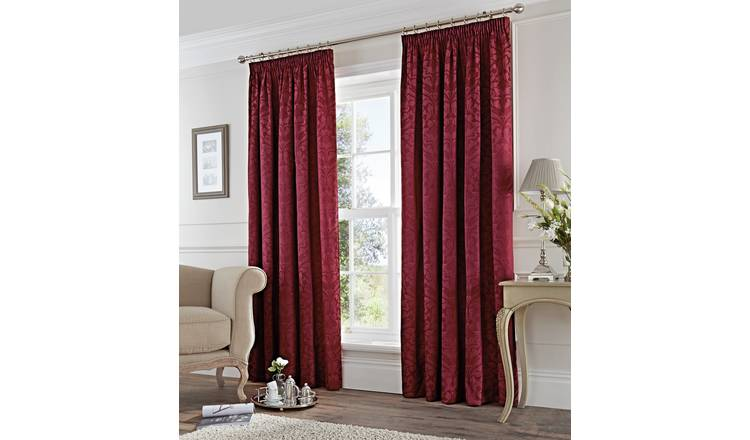 Fusion Eastbourne Lined Curtains - 229x229cm - Burgundy.