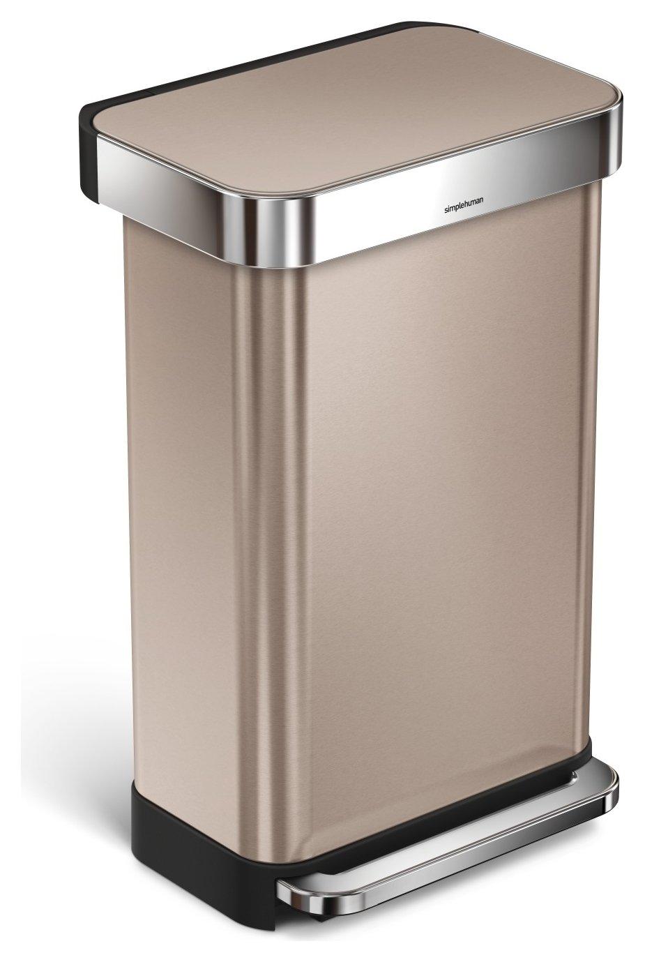 simplehuman 45 Litre Liner Pocket Kitchen Bin - Rose Gold