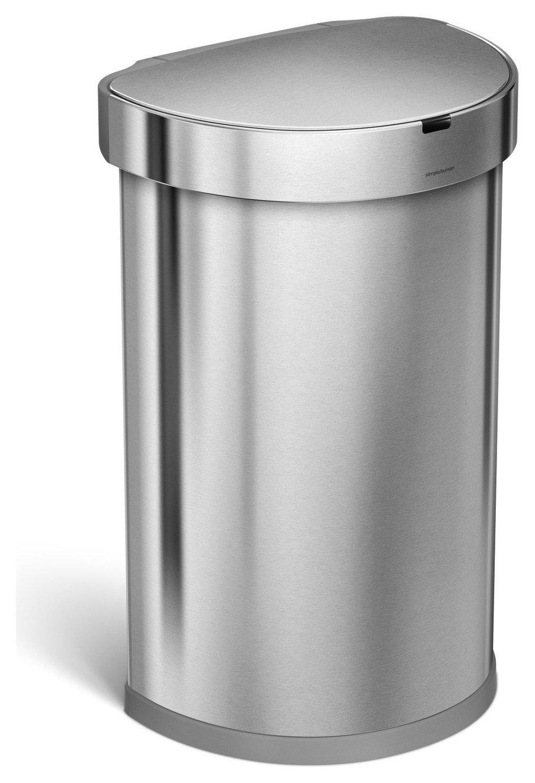 simplehuman 45L Semi Round Sensor Bin - Stainless Steel