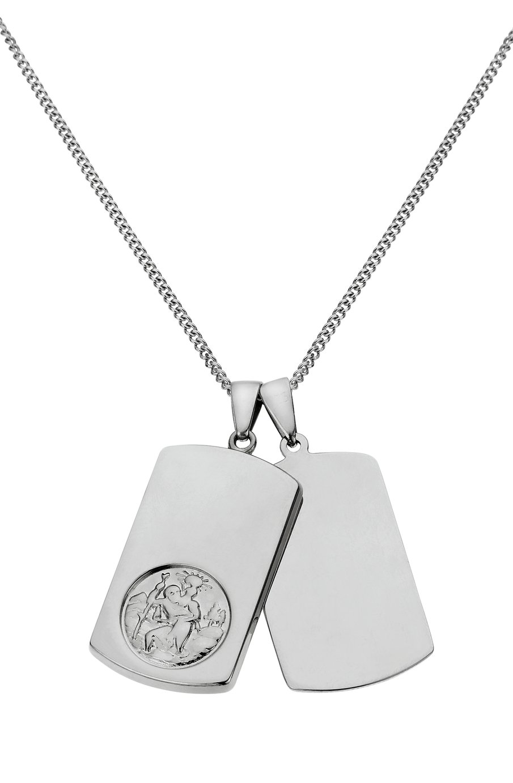 Sterling Silver Men's St. Christopher Dog Tag Pendant