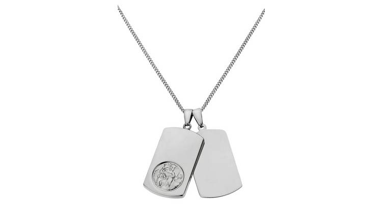 Sterling Silver Mens St.Christopher Dog Tag Pendant Necklace