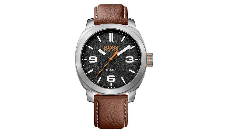fd5a3467dc1 Buy Hugo Boss Orange Cape Town Men s Brown Leather Strap Watch ...