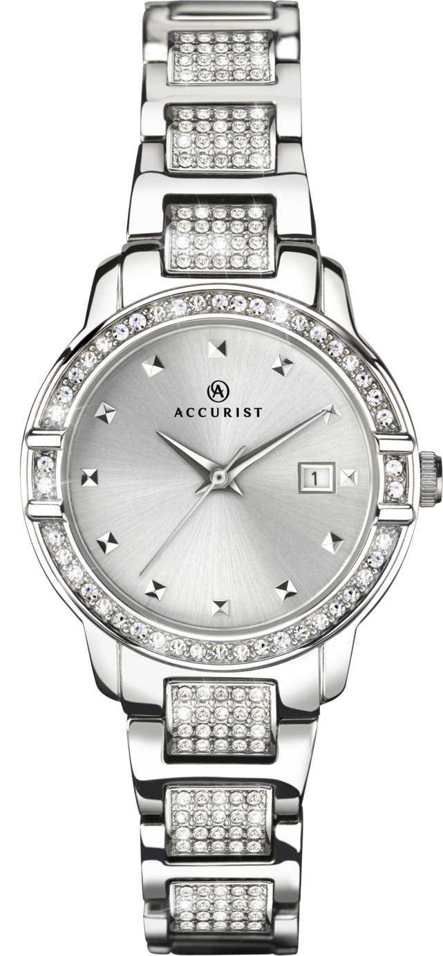 Accurist Ladies' Silver Coloured Stone Set Watch