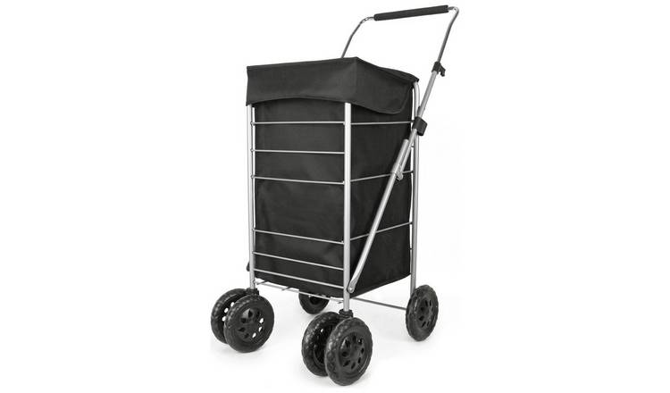 6 Wheel Folding Black Deluxe Shopping Trolley