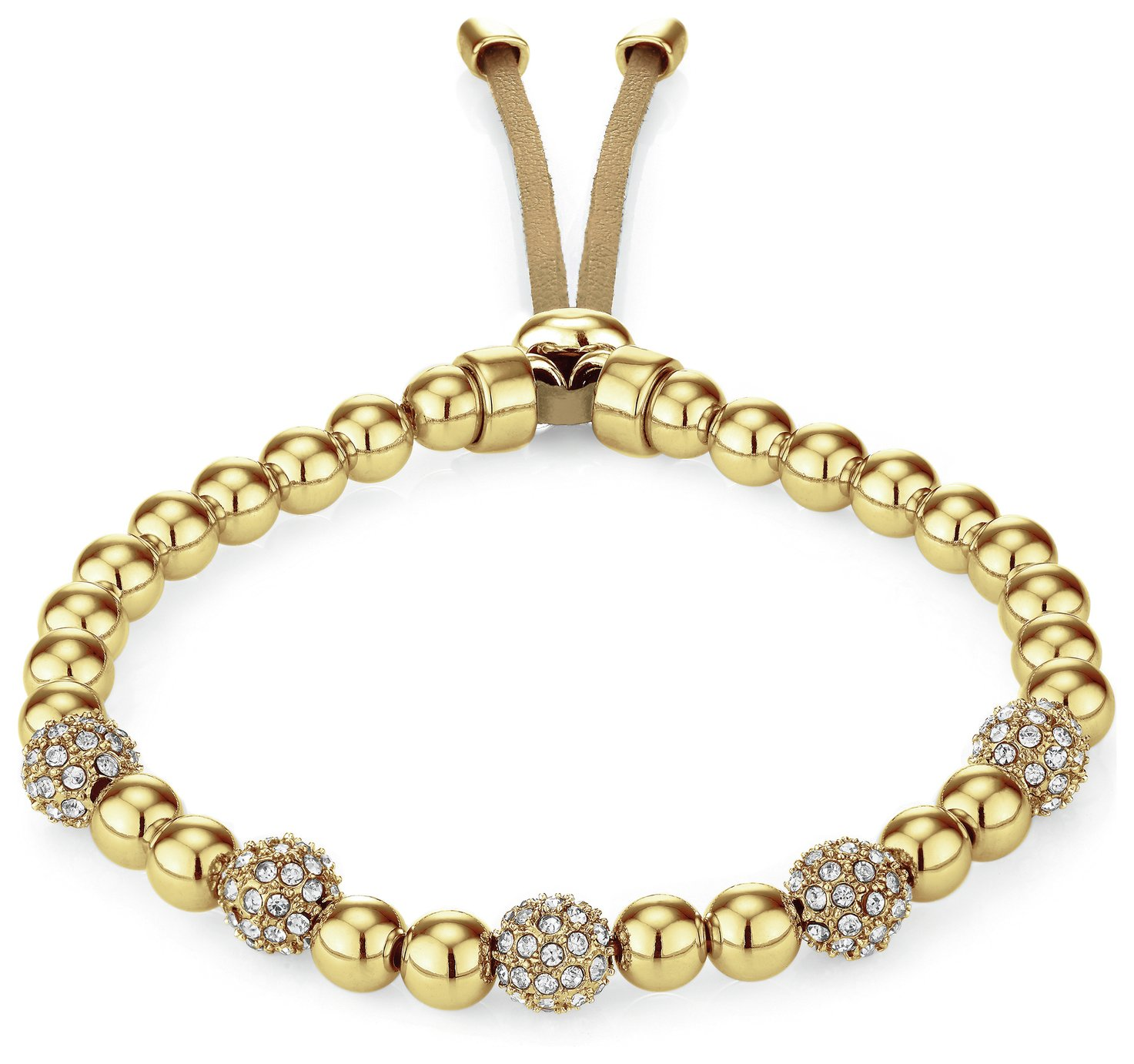 Buckley Gold Colour Pimlico Crystal Bead Slider Bracelet