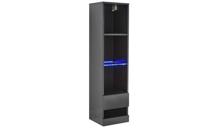 Galicia 4 Shelf Wall Mounted LED Bookcase - Black