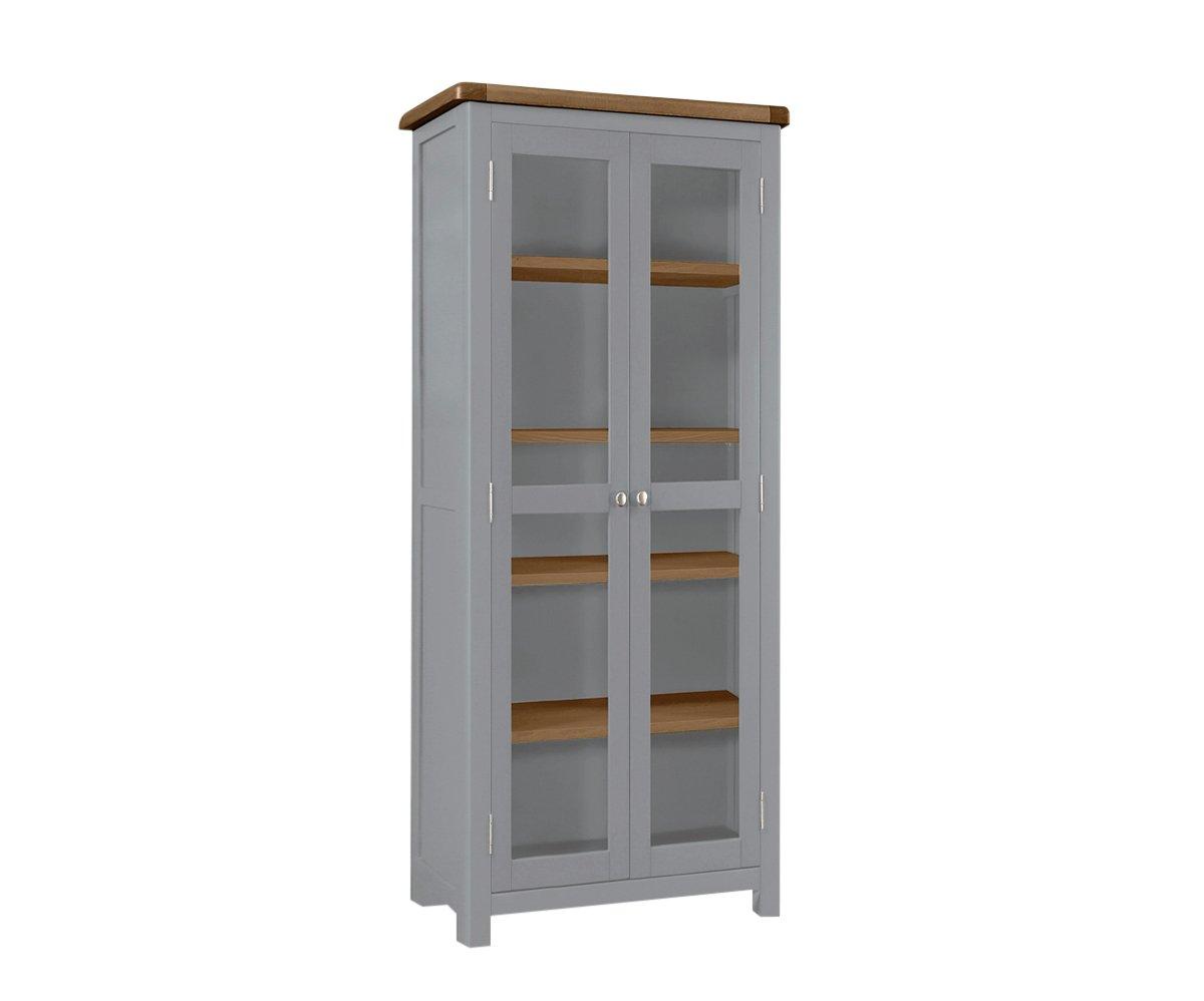 Habitat Kent 2 Door Glass Display Cabinet - Light Grey