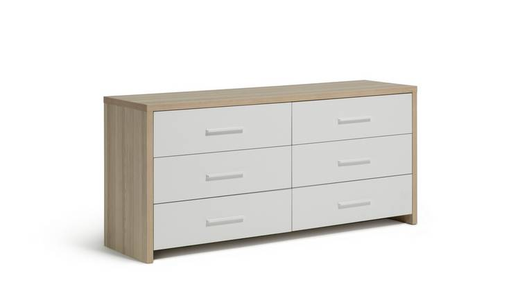 Habitat Broadway 3 + 3 Drawer Chest - Oak Effect & White
