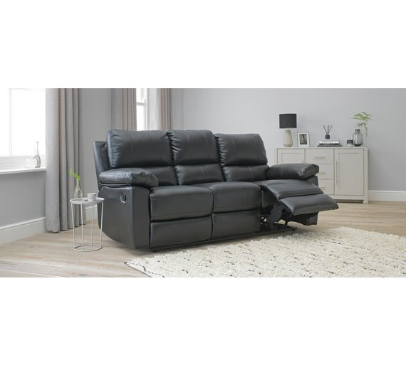 Buy Argos Home Toby 3 Seater Faux Leather Recliner Sofa Black