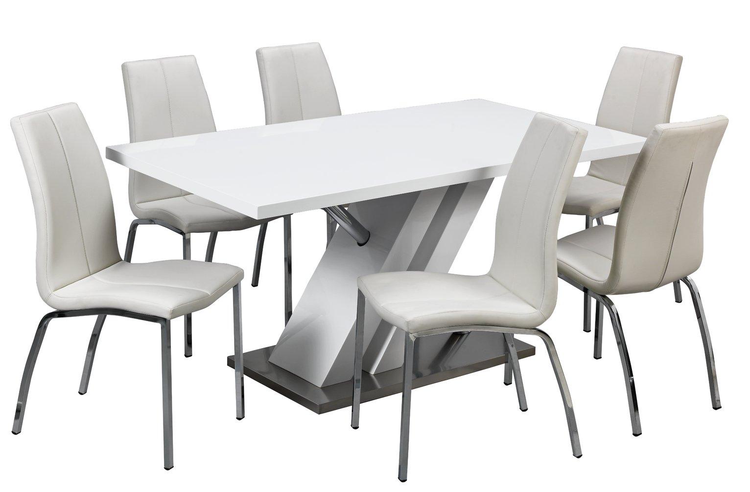 172 & Buy Argos Home Belvoir White Gloss Dining Table \u0026 6 White Chairs | Dining table and chair sets | Argos