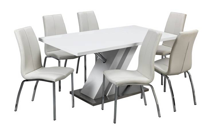 Astounding Buy Argos Home Belvoir White Gloss Dining Table 6 White Chairs Dining Table And Chair Sets Argos Interior Design Ideas Inesswwsoteloinfo