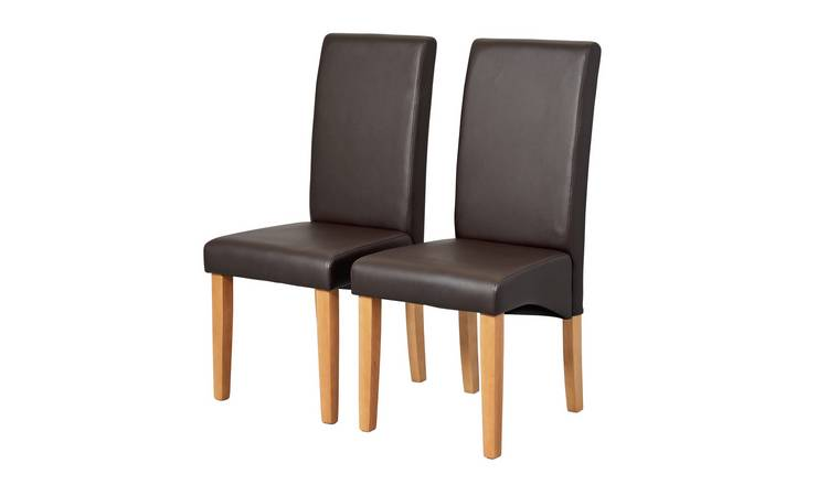 Habitat Pair of Skirted Dining Chairs - Chocolate
