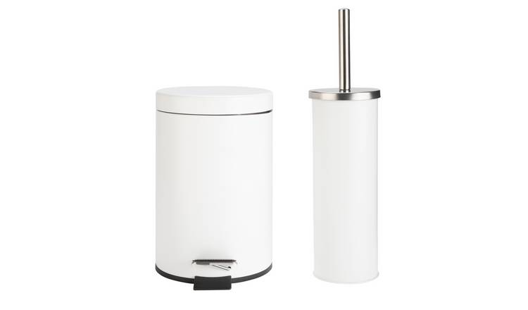Argos Home Slow Close Bin and Toilet Brush Set - White
