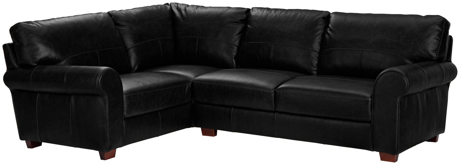 Argos Home Salisbury Left Corner Leather Sofa - Black