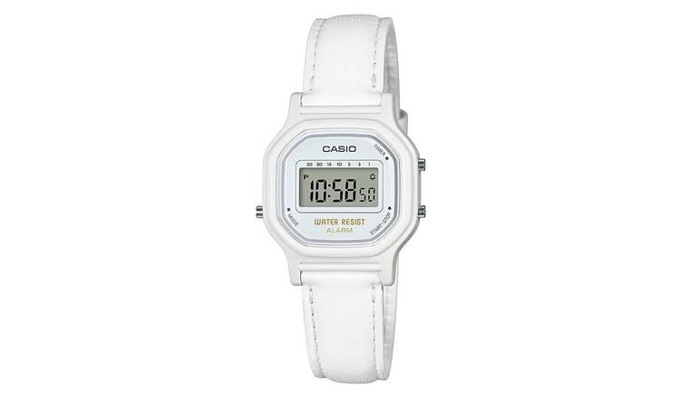 fa7511690 Buy Casio Ladies' Mini White Leather Strap Digital Watch   Womens ...