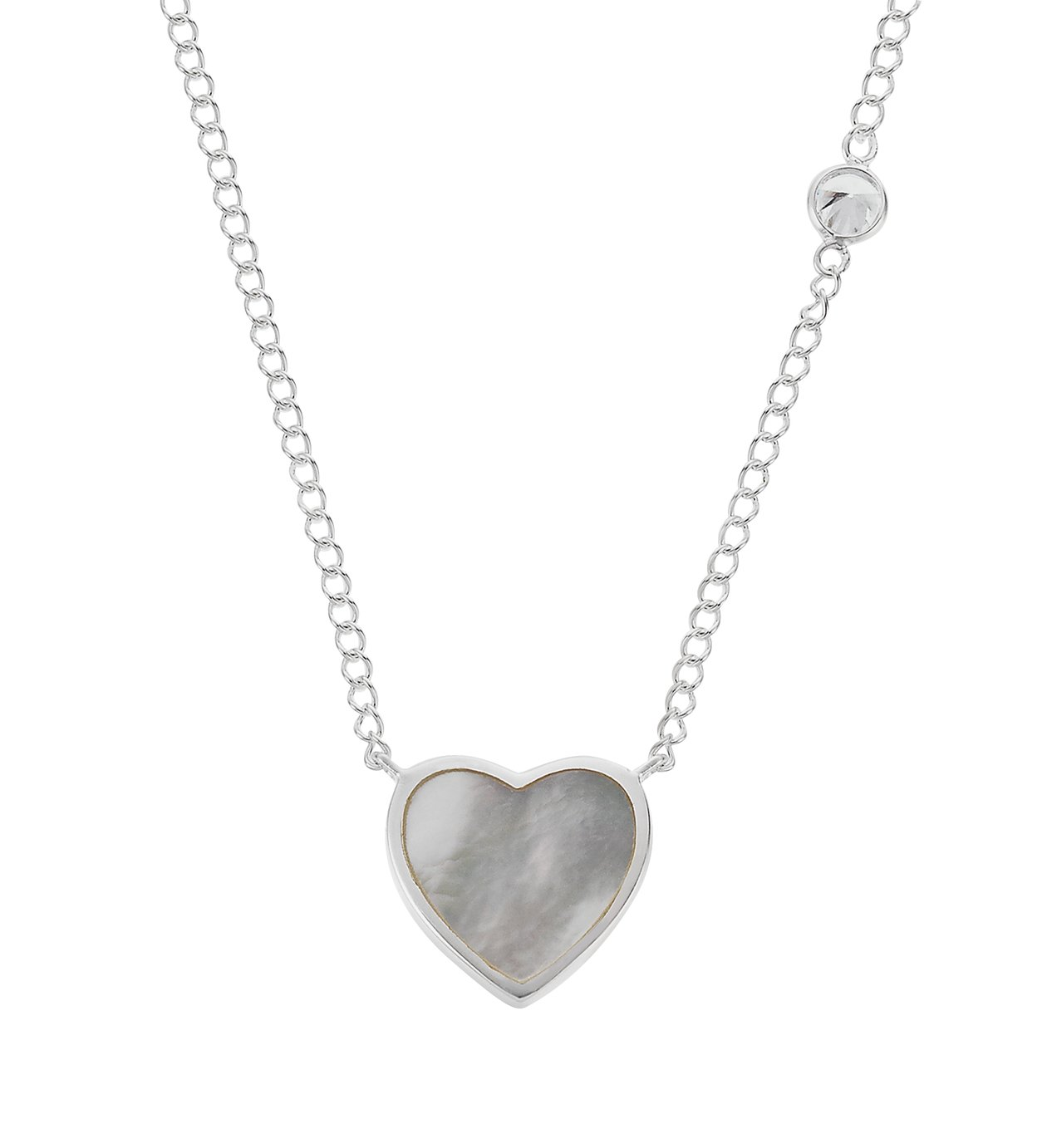 Revere Silver Mother of Pearl Heart 18 Inch Necklace