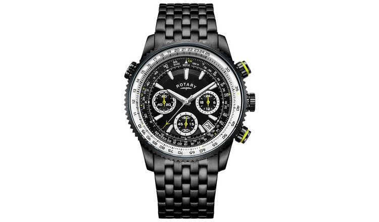 Rotary Men's Black Stainless Steel Watch