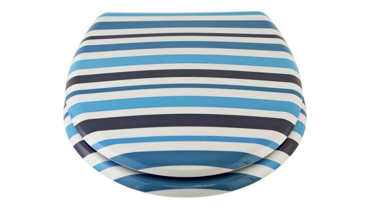 Outstanding Buy Argos Home Stripe Toilet Seat Blue Limited Stock Gamerscity Chair Design For Home Gamerscityorg